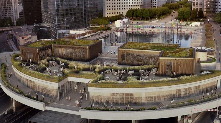 toit plat végétalisé Ecovegetal La Défense architectes