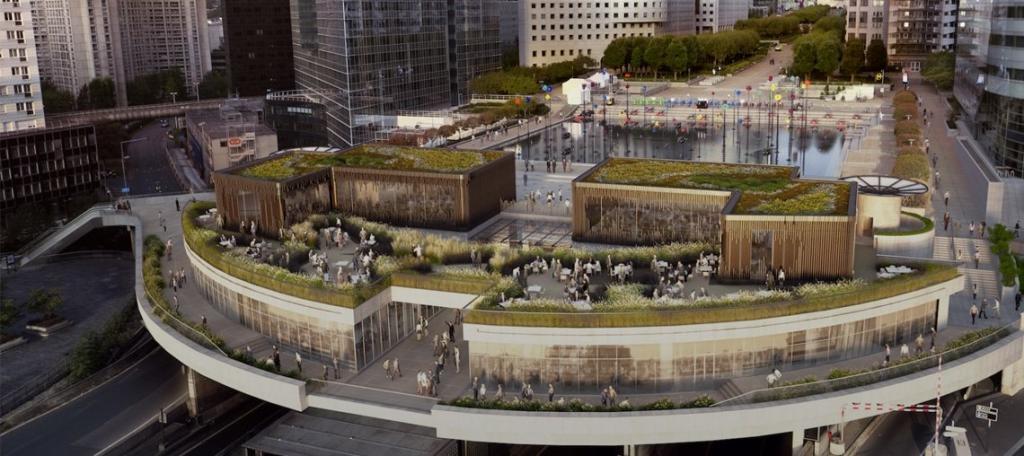 Toit plat végétalisé face tours de la Défense inspiration architecture