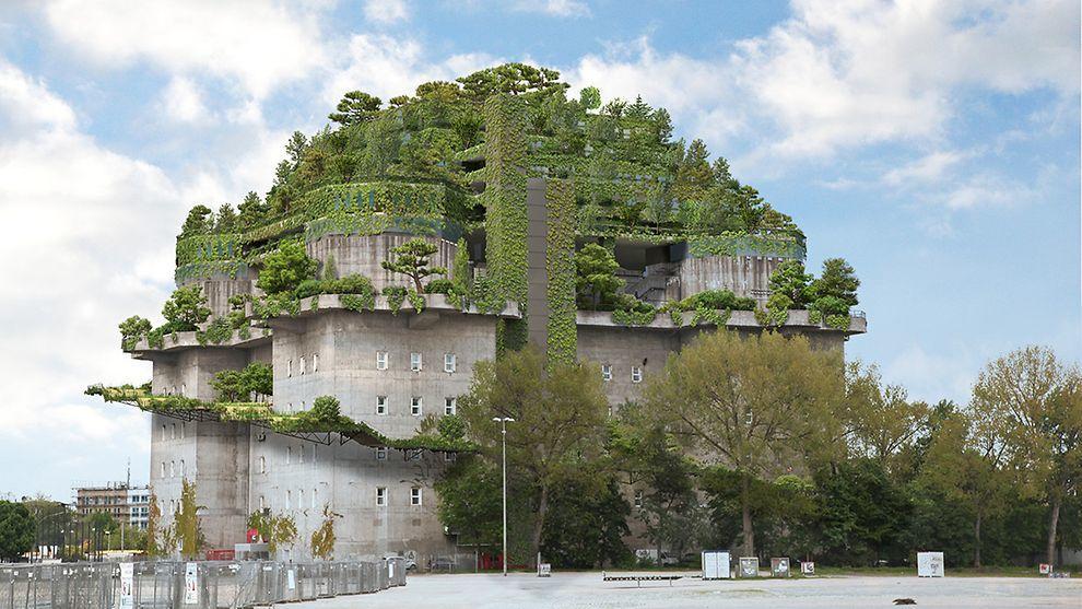 Bunker Hambourg toiture terrasse végétalisée en étages