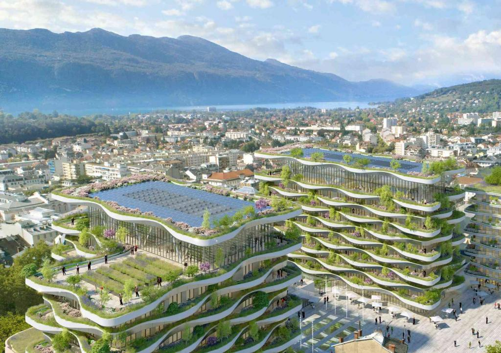 Toitures terrasses végétalisées pour la rénovation d'Aix les Bains Vincent Callebaut